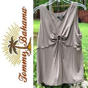 Tommy Bahama Taupe Tank Top with Central Pull Tie